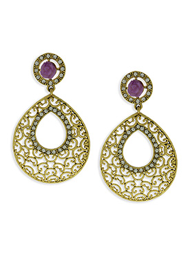 Gold Color And Purple Floral Studded Danglers