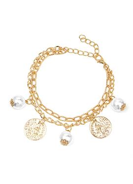 Gold Color Circular Motif Style Pearl Embellished Bracelet