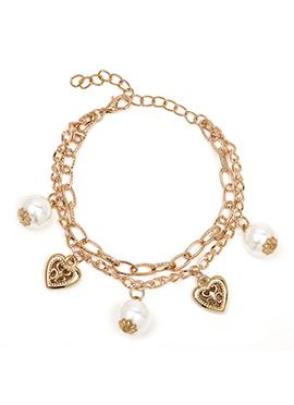 Gold Color Heart Motif Style Pearl Embellished Bracelet