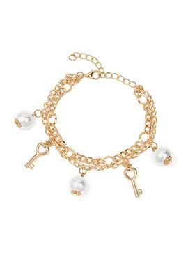 Gold Color Key Motif Style Pearl Embellished Bracelet