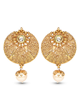 Gold Color Pearl Studded Drop Earrings