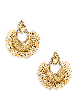 Gold Colored Stone N Pearl Studded Chand Balis