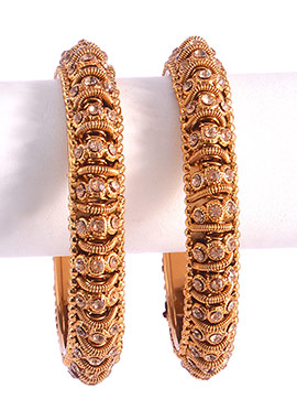 Gold Colored Stones Studded Bangles