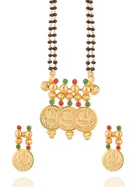 Gold Deity Coin Polki Studded Mangalsutra
