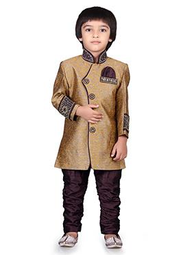 Gold Embroidered Kids Sherwani