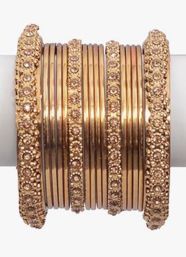Gold N Beige Bangles Set