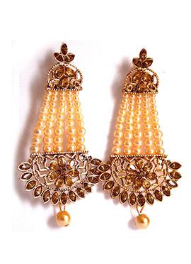Gold N Beige Dangler Earrings