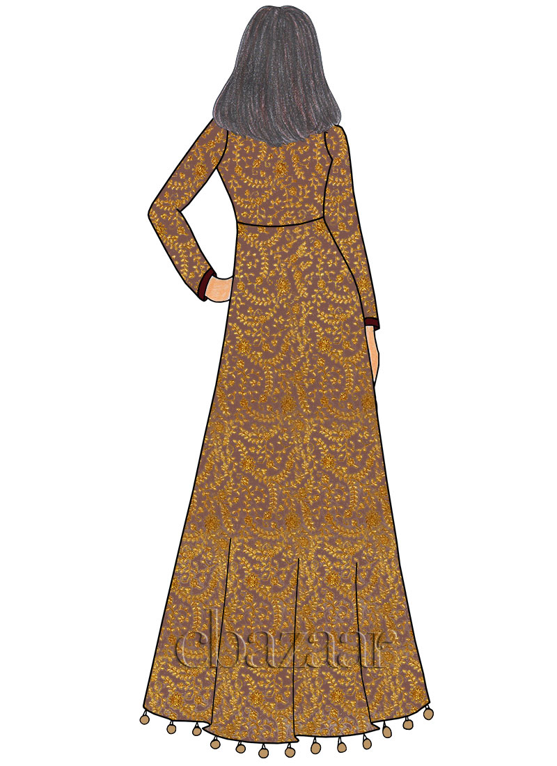 gold n beige embroidered net gown - Was Ist Beige
