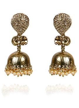 Gold N Beige Jhumka Earring