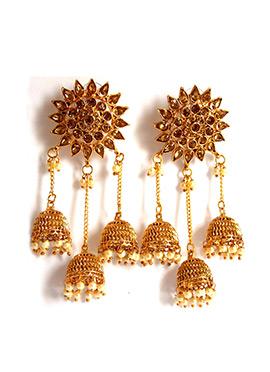 Gold N Beige Jhumka Earrings