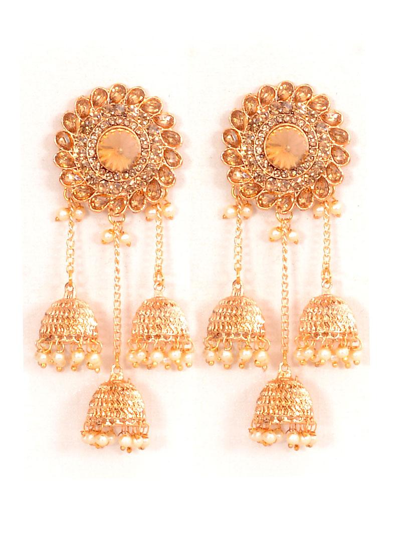 Buy Gold N Beige Jhumka Earrings, Beads , Stones, jhumka Online ...