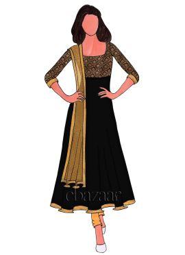 Gold N Black Art Silk Brocade Anarkali Suit