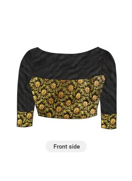 Gold N Black Art Silk Brocade Blouse with Black Net sleeves