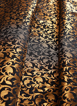 Gold N Black Art Silk Brocade Fabric