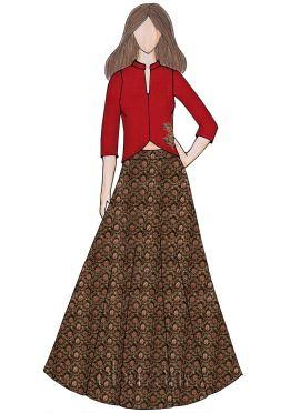 Gold N Black Art Silk Brocade Indowestern Skirt Set