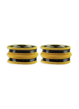 Gold N Black Colored Stylish Bangles