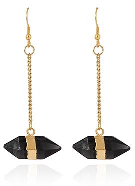 Gold N Black Danglers Earring