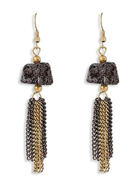 Gold N Black Hook Earring