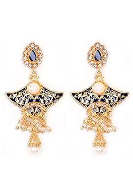 Gold N Navy Blue Stone N Moti Studded Danglers