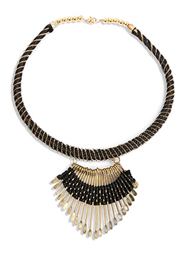 Gold N Black Thread Necklace