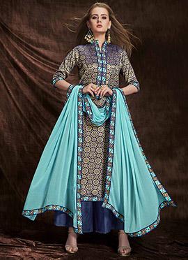 Gold N Blue Art Benarasi Silk Palazzo Suit
