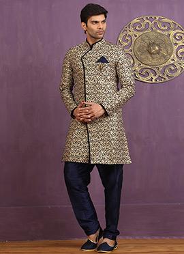 Gold N Blue Art Silk Achkan Sherwani