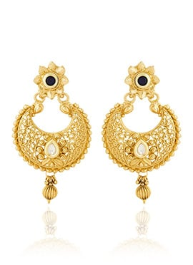 Gold N Blue Chaandbali Earrings