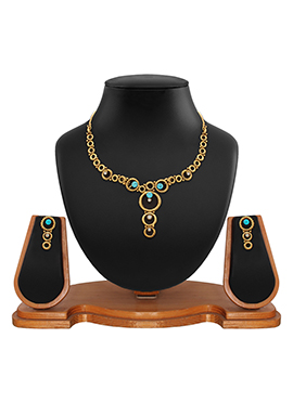 Gold N Blue Colored Stone Studded Necklace Set