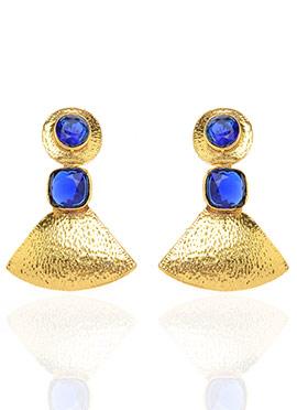 Gold N Blue Dangler Earrings