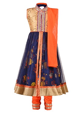 Gold N Blue Net Kids Anarkali Suit