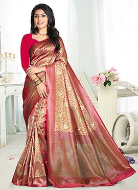 Gold N Coral Pink Cotton Silk Saree