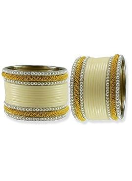 Gold N Cream Moti Studded Elegant Bangles