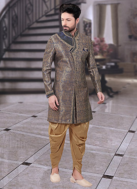 Gold N Dark Grey Art Benarasi Silk Indowestern Sherwani