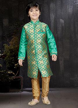 Gold N Green Art Benarasi Silk Kids Kurta Pyjama