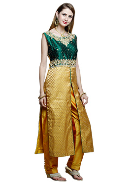 Gold N Green Art Silk Straight Pant Suit