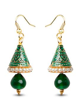 Gold N Green Beads Dangler Earrings