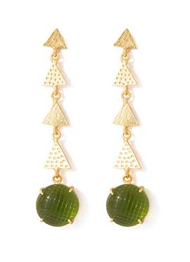 Gold N Green Dangler Earrings