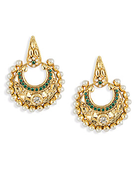 Gold N Green Moti Embellished Chand Balis