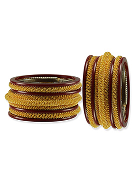 Gold N Maroon Elegant Bangles