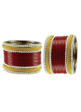 Gold N Maroon Moti Studded Elegant Bangles
