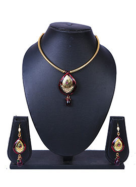 Gold N Maroon Necklace Set