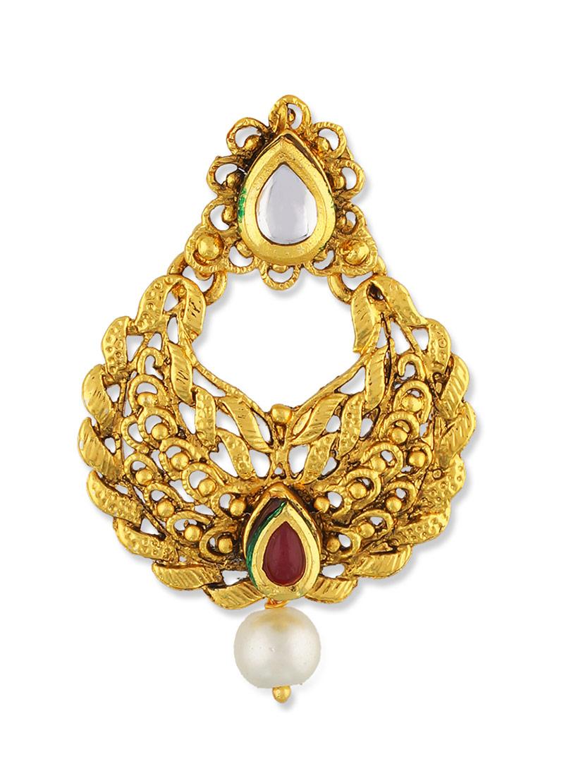Gold N Maroon One Stop Fashion Chandbali Earrings