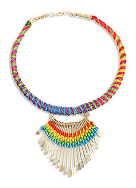 Gold N Multicolored Thread Necklace