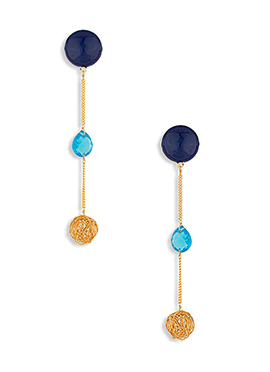 Gold N Navy Blue Crystal Decked Danglers