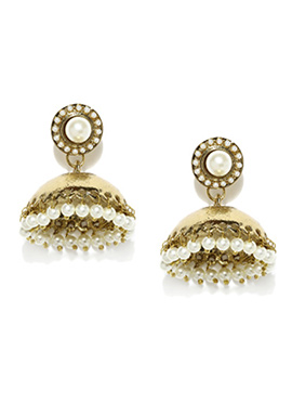 Gold N Off White Fida Jhumkas