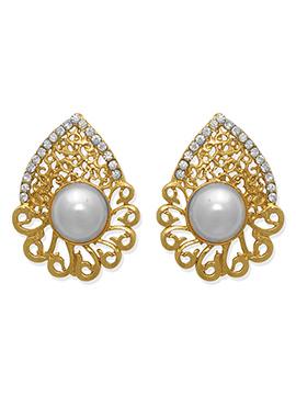 Gold N Off White Studs Earring