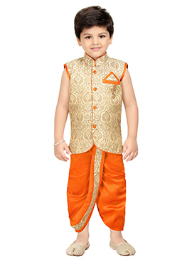 Gold N Orange Blended Cotton Kids Dhoti Kurta