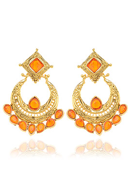 Gold N Orange Chaand Bali Earrings