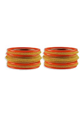 Gold N Orange Colored Elegant Bangles