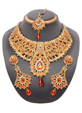 Gold N Orange Colored Stone Necklace Set